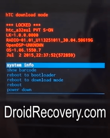 HTC Desire 10 Lifestyle Recovery Mode and Fastboot Mode