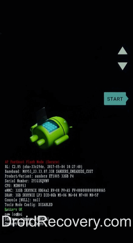 Motorola One Vision Plus Recovery Mode and Fastboot Mode